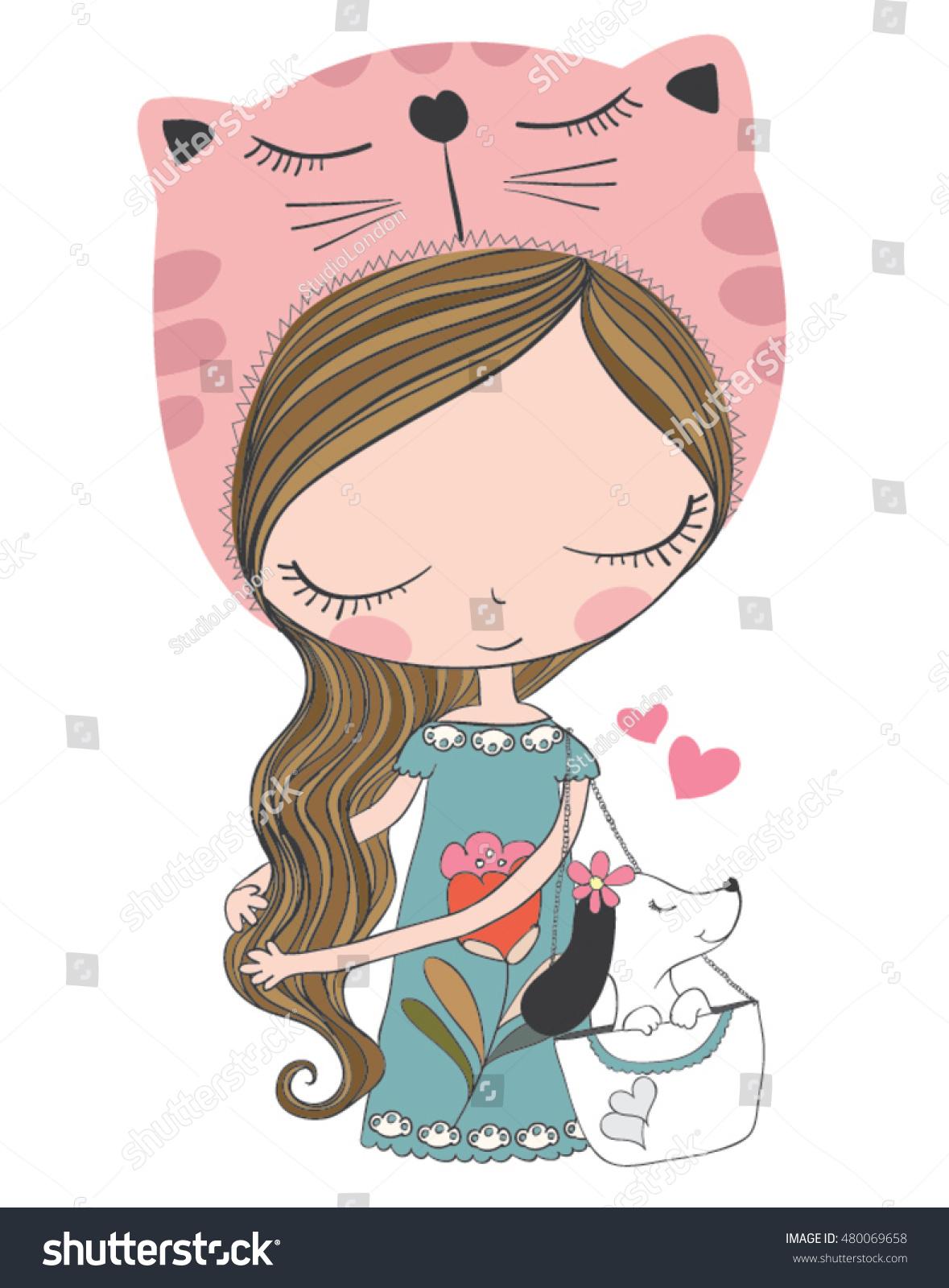 Shirt design book - Cute Girl Vector T Shirt Print Design Book Illustrations For Children Cartoon