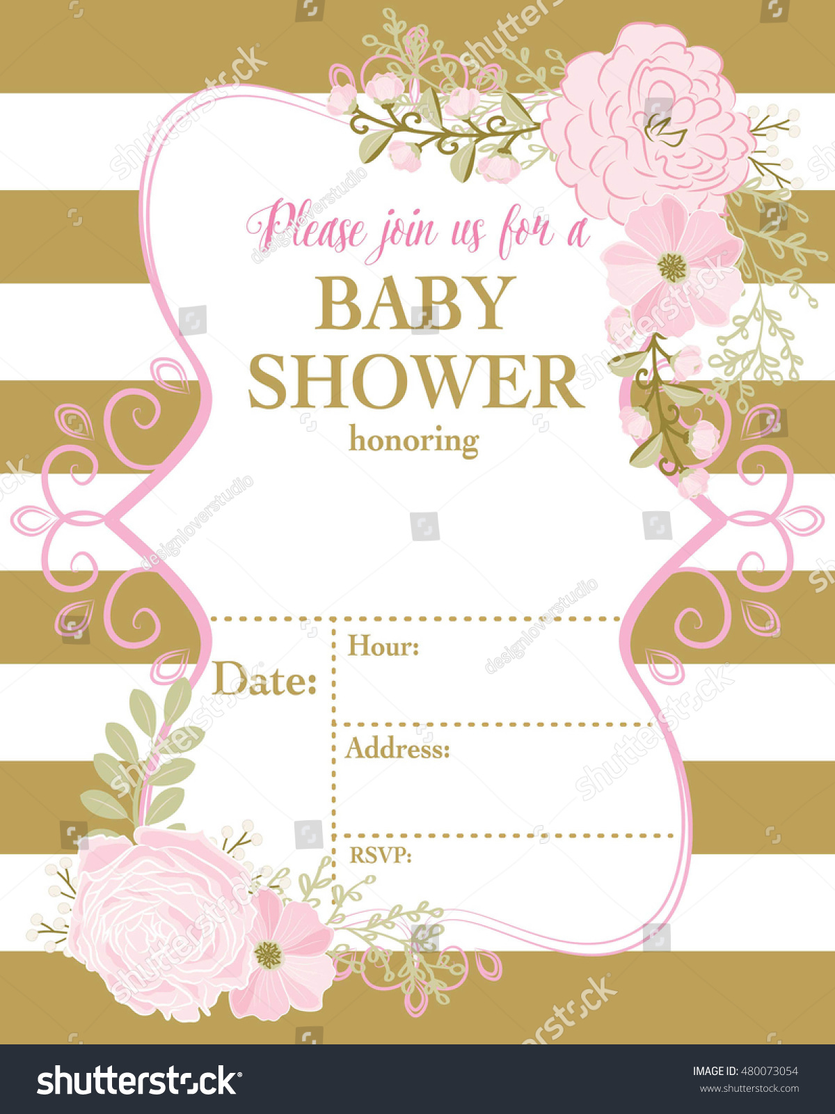 Baby Invitation Template Pink Flower Gold Stock Vector 480073054 ...