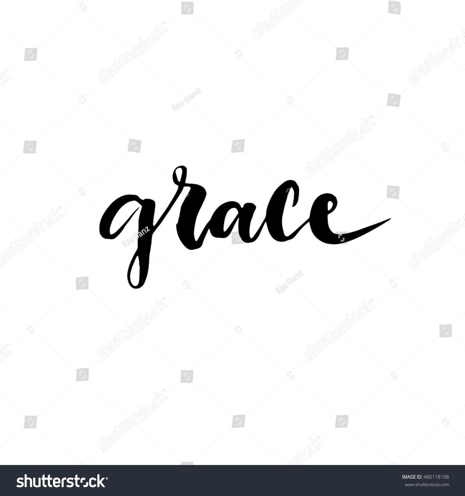 Grace hand lettering modern brush calligraphy stock vector