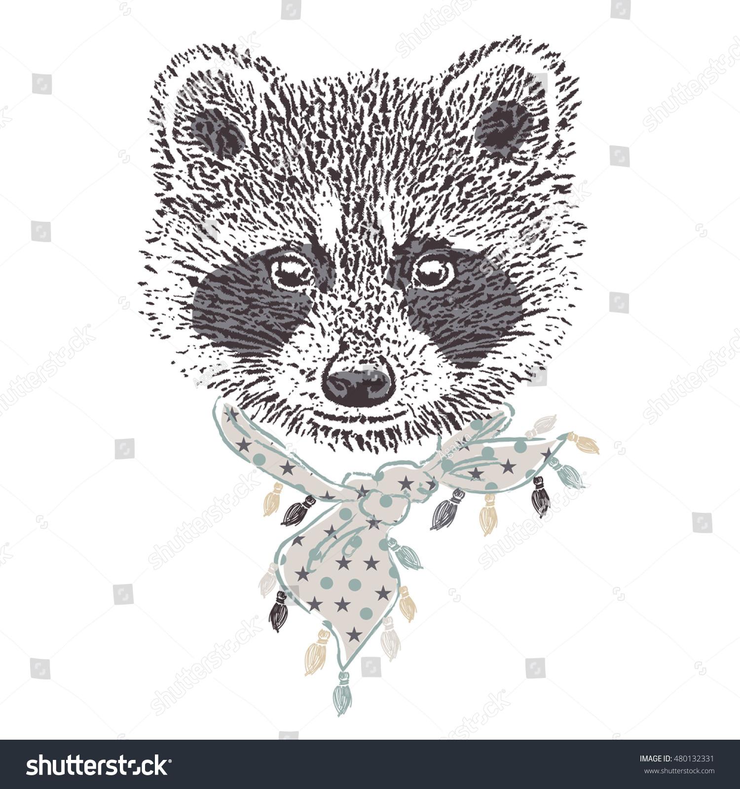 vector animal illustration cute raccoon bandana stock vector
