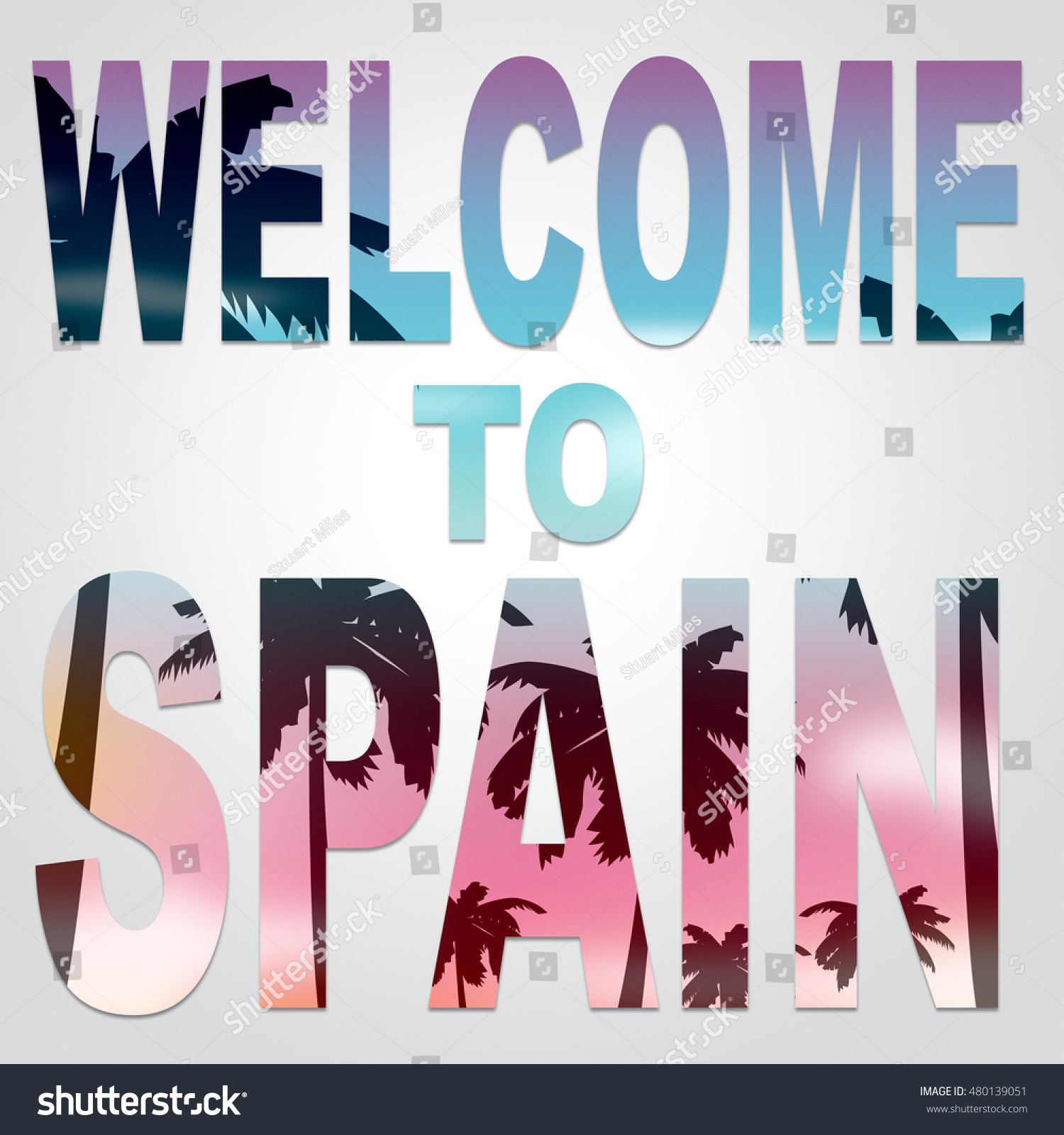 Welcome Spain Words Represent Vacations Greeting Stock Illustration
