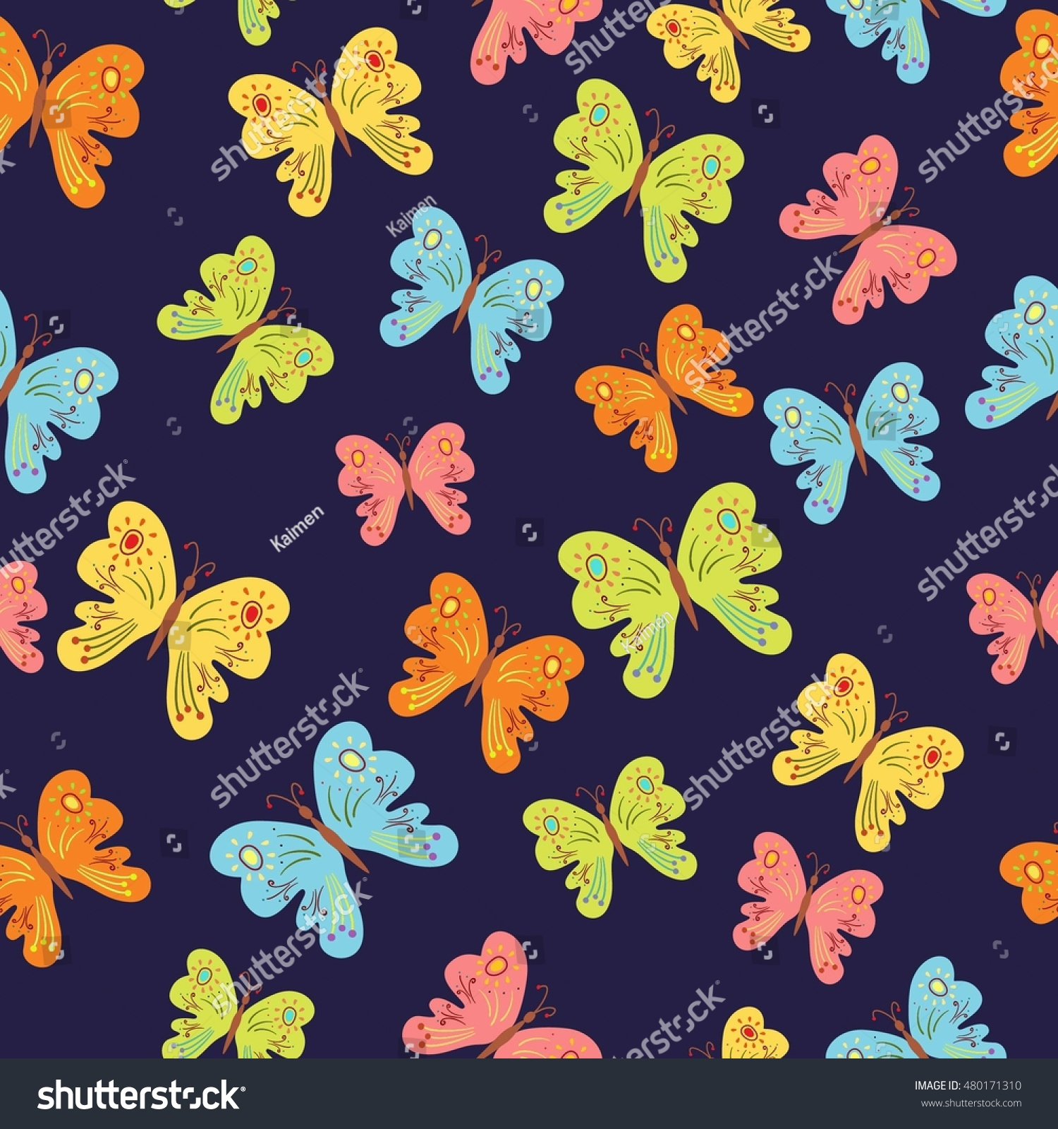 Seamless Pattern Kids Colorful Cute Butterflies Stock Vector