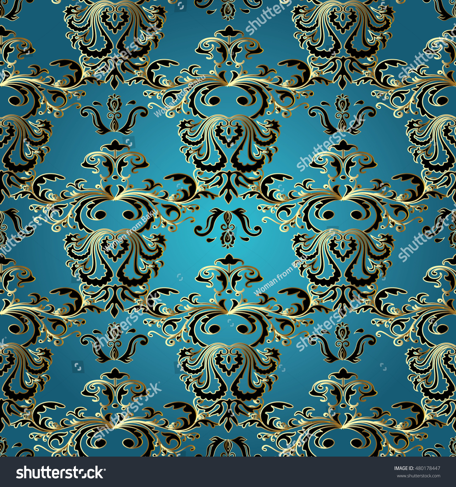 Light Blue Royal Baroque Damask Vector 480178447