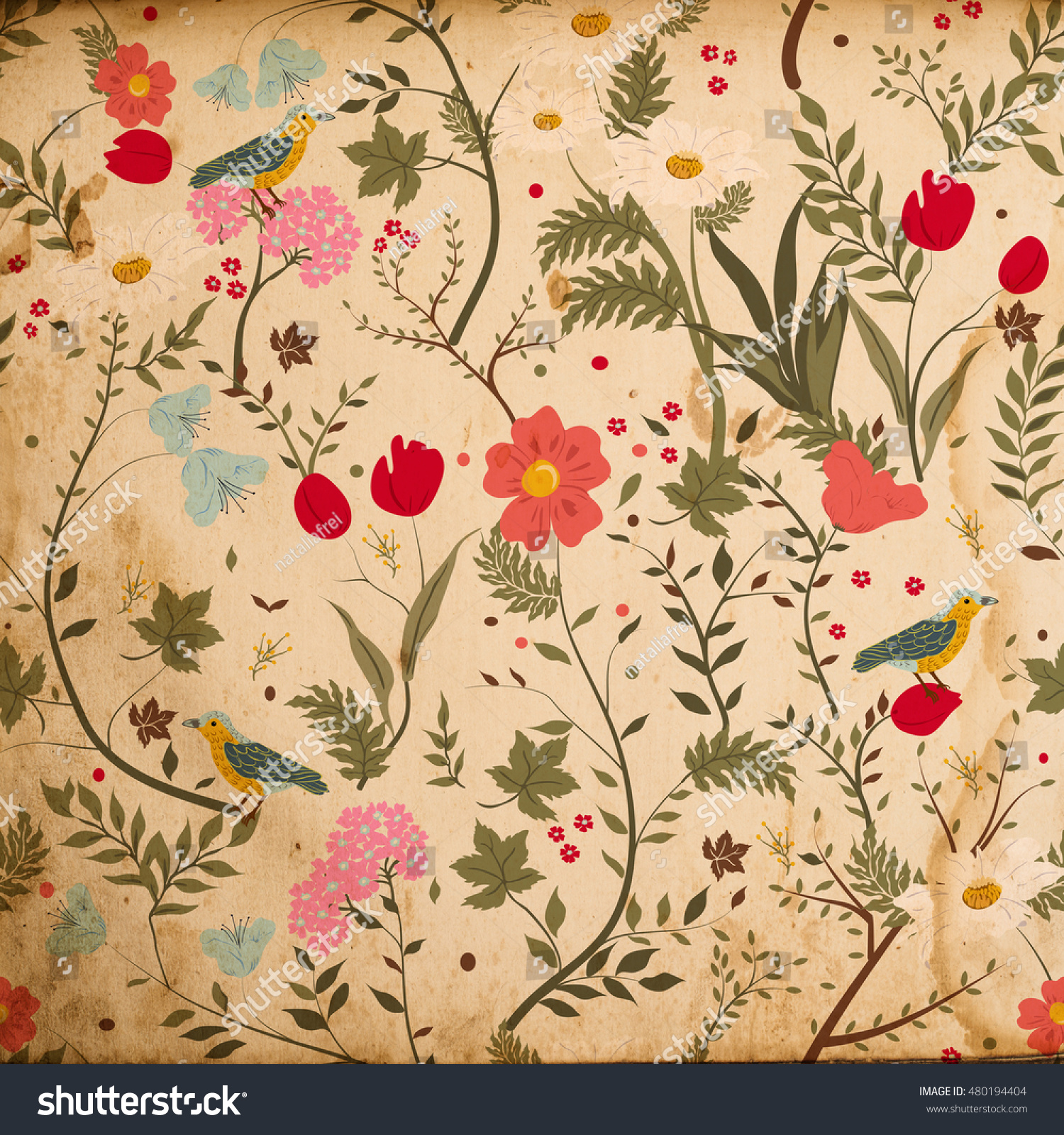 Antique Floral Vintage Wallpaper Background Stock Illustration