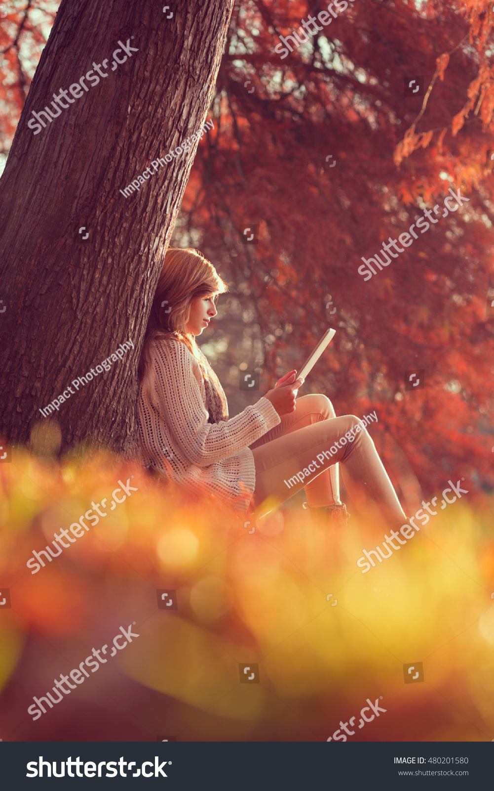 From the book where you might see the beautiful autumn leaves - Beautiful Young Brunette Sitting On A Fallen Autumn Leaves In A Park Reading An E