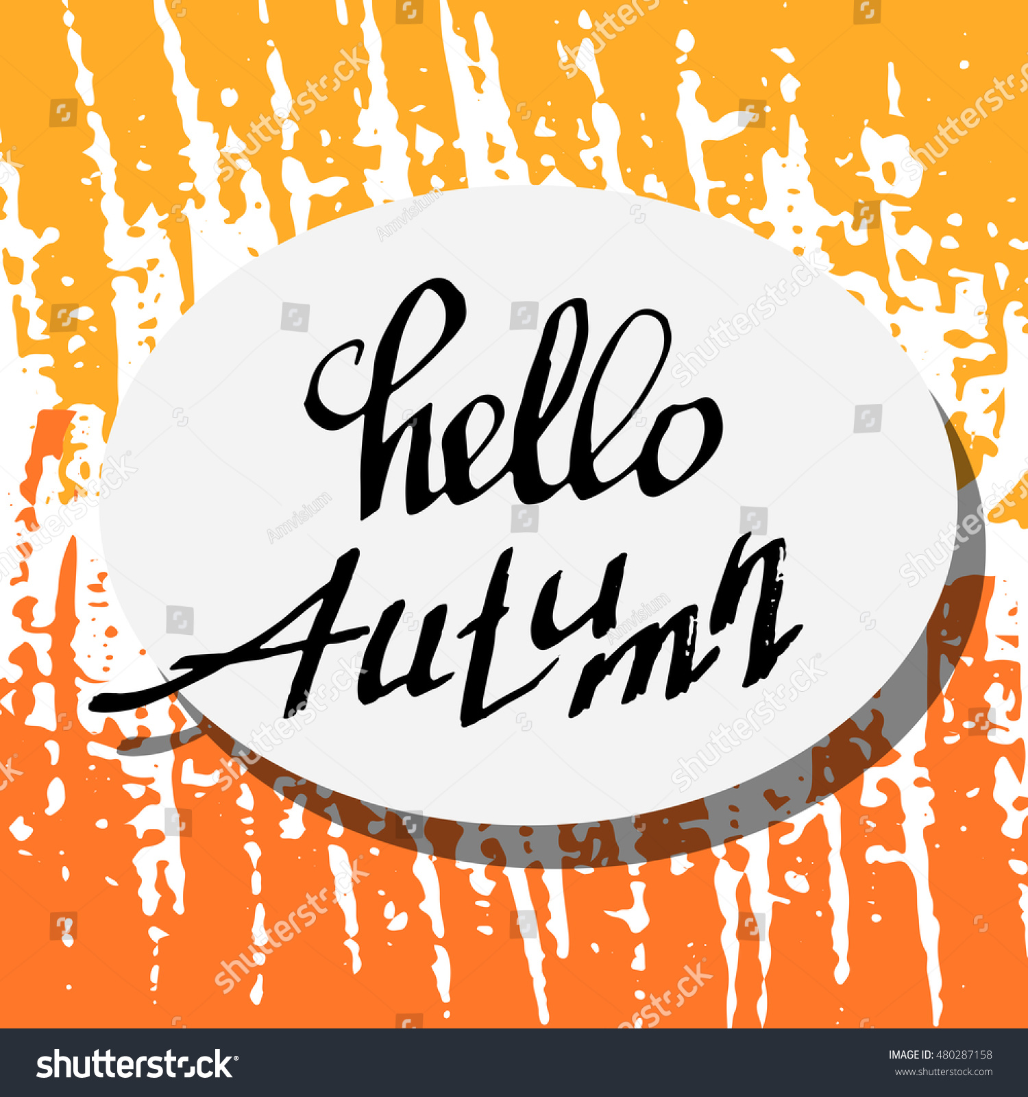 Hello Autumn. Unusual Lettering Background. Perfect Hand Drawn Inscription.  Card Design. Handwritten