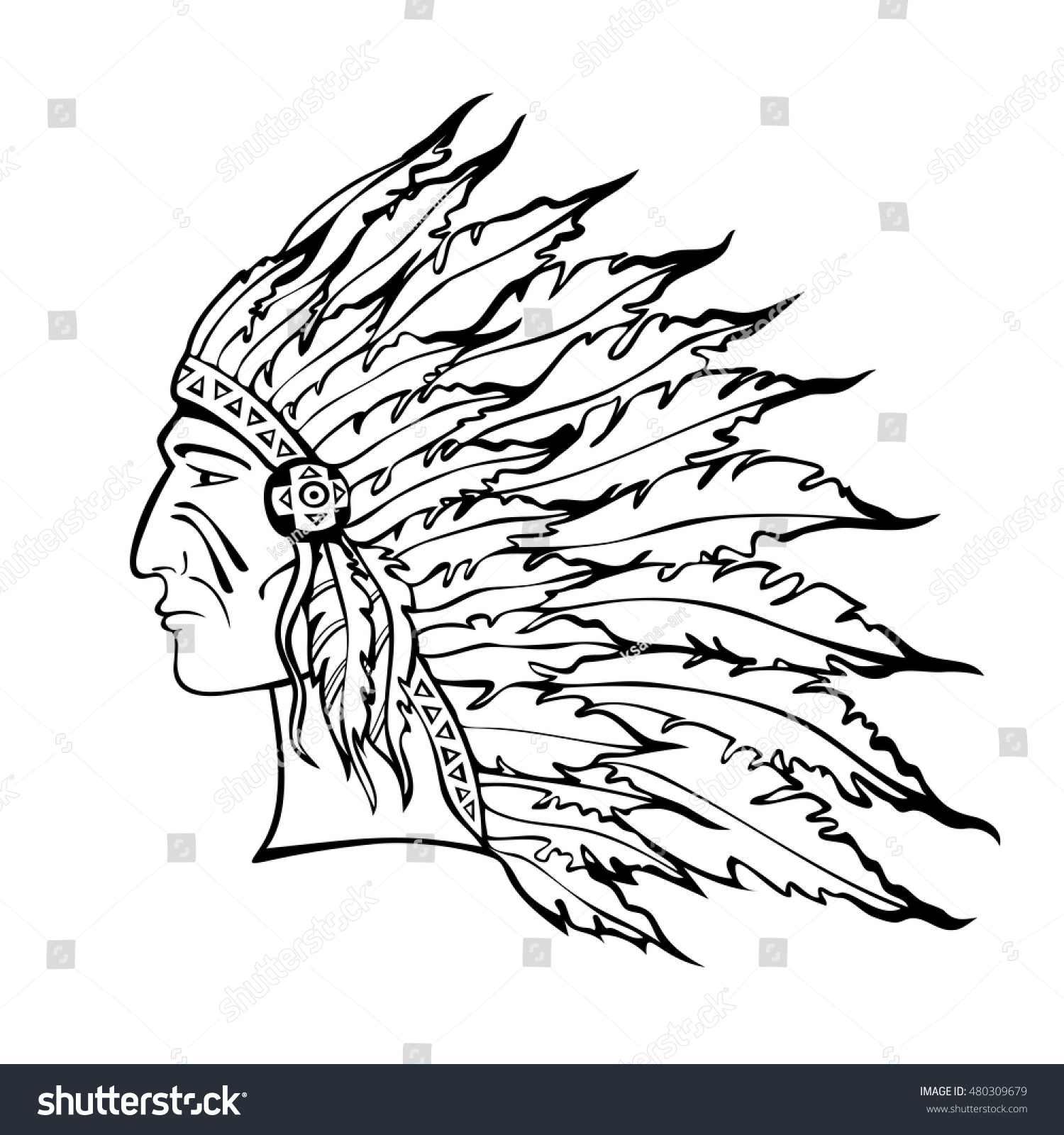 Native American Indian Chief In War Bonnet Hand Drawn Sketch Warrior Tribal Plume
