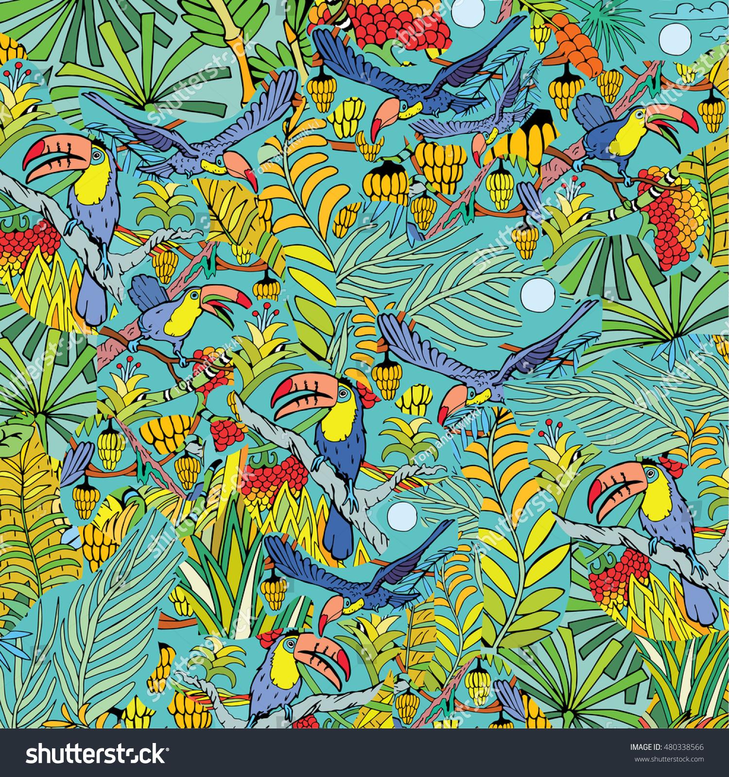 wildlife jungle toucan bird hand drawn stock vector royalty free