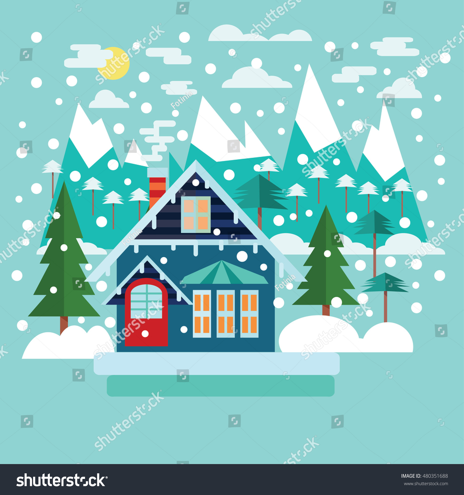 Merry Christmas Greeting Card Design Country Stock Vector 480351688
