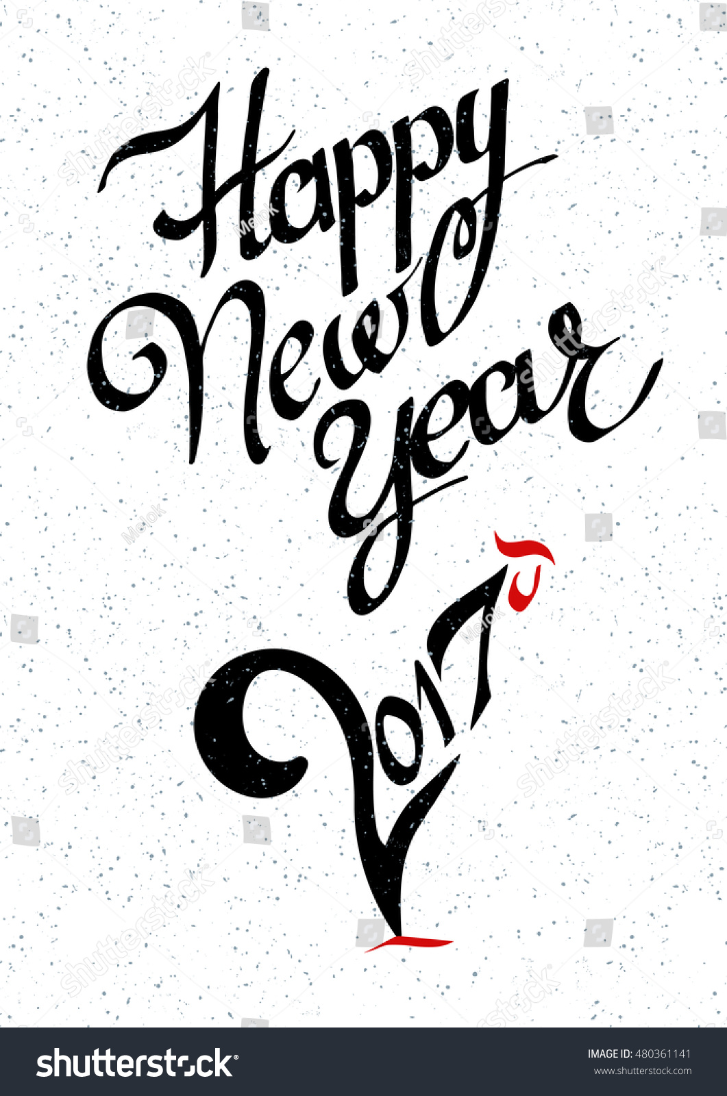happy new year 2017 creative greeting card design concept lettering handmade vector calligraphy