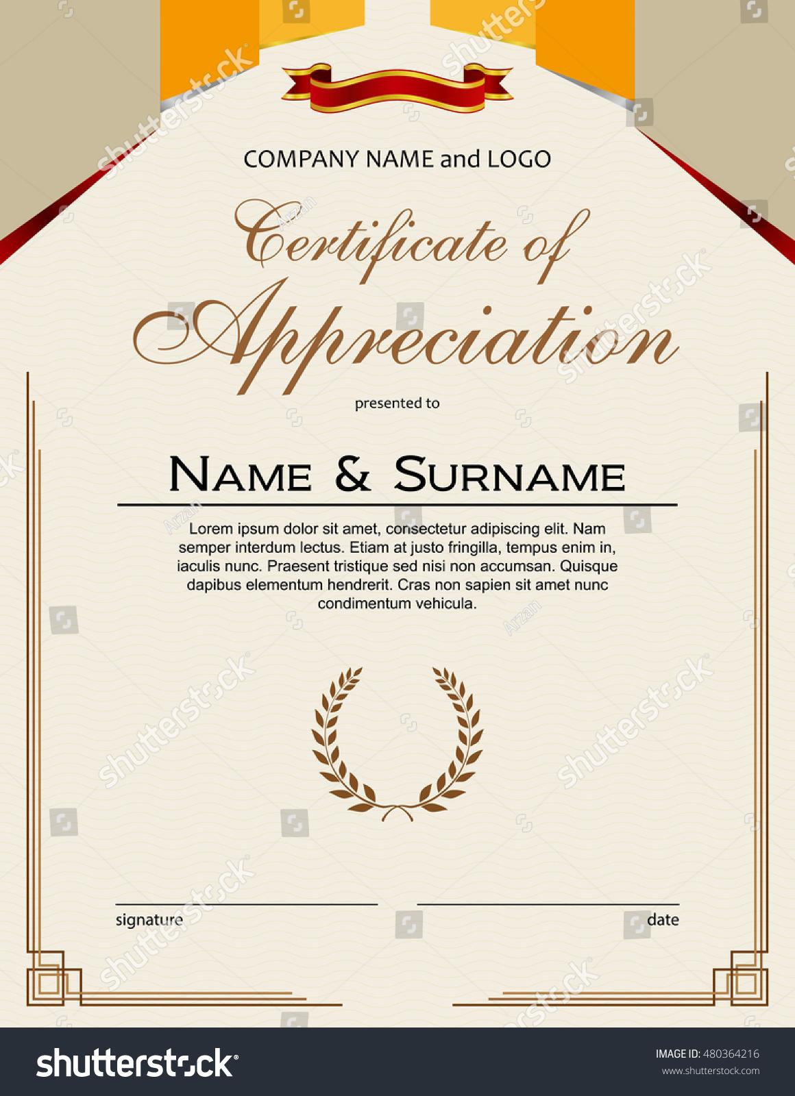 Certificate appreciation laurel wreaths ribbon portrait stock certificate of appreciation with laurel wreaths and ribbon portrait version yadclub Images