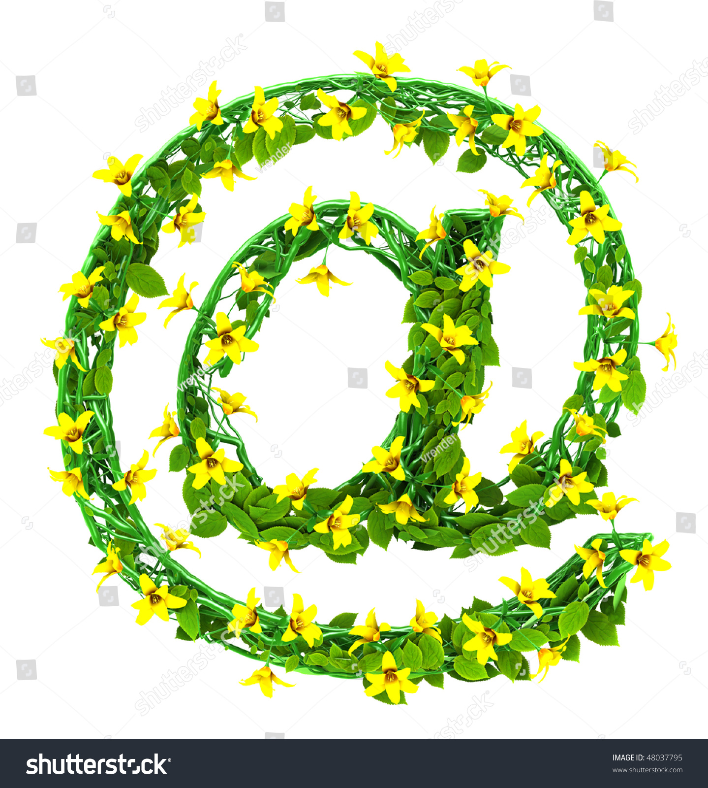 Yellow Flower Green Leaf Font Mail Stock Illustration 48037795