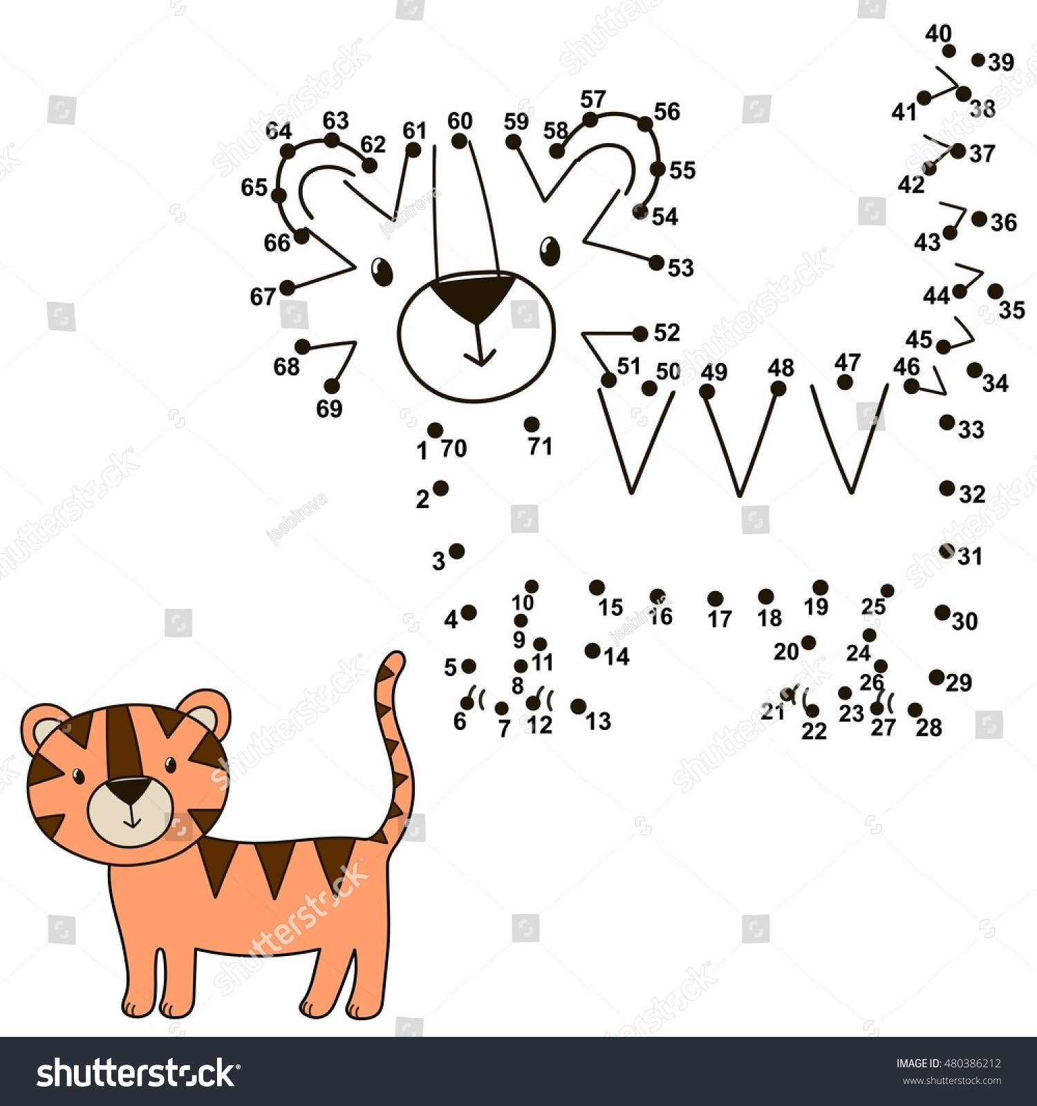 connect dots draw cute tiger color stock vector 480386212