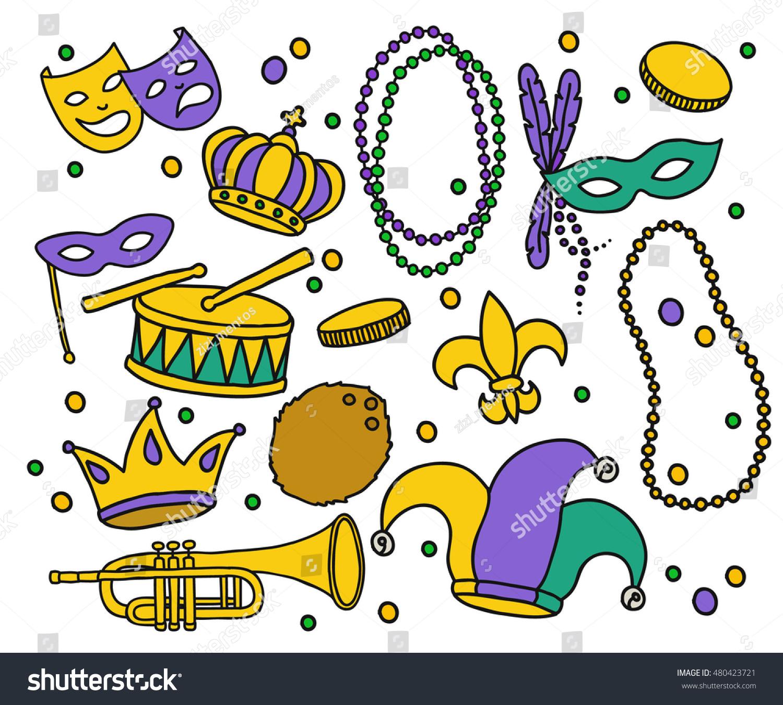 Doodle Icons Mardi Gras Symbols Carnival Stock Vector Royalty Free
