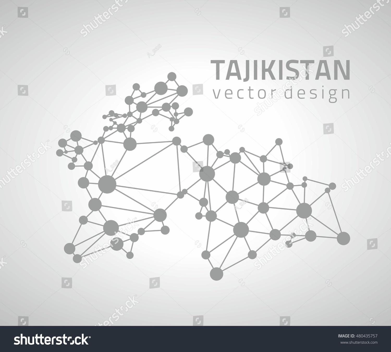 Tajikistan Vector Contour Perspective Grey Map Stock Vector - Tajikistan map vector