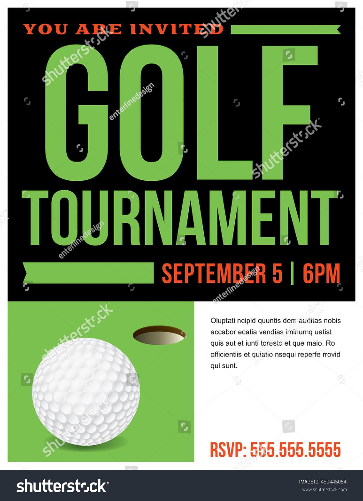 Flyer Golf Tournament Invitation Template Vector Stock Vector