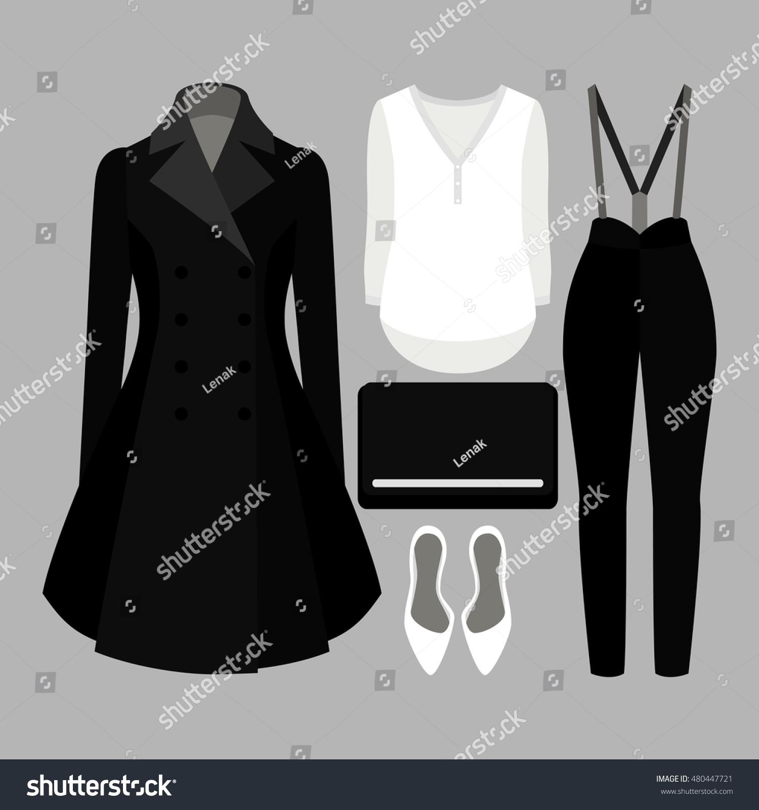 e7a6981cee70f2 Set Trendy Womens Clothes Panties Coat stockvector (rechtenvrij ...