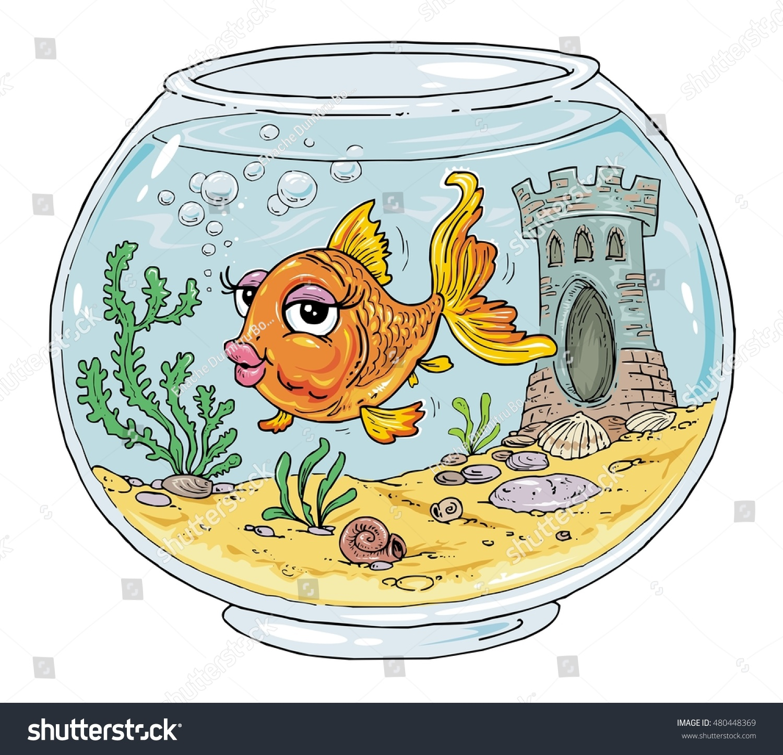 Bowl Goldfish Fish Tank Cartoon Aquarium Stock Vektorgrafik