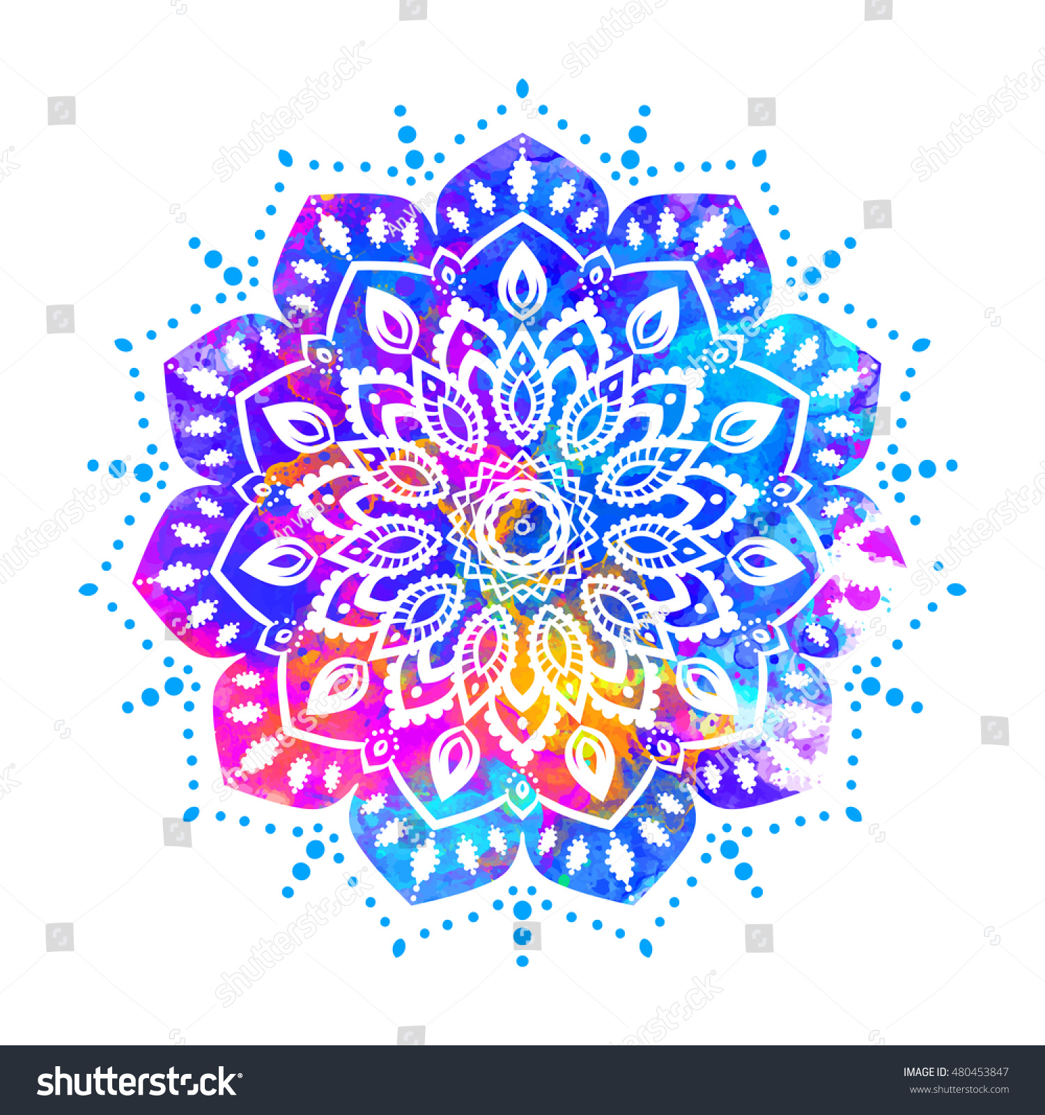 Watercolor Color Card With Mandala Geometric Circle Element Vector Art Subject Adults Coloring