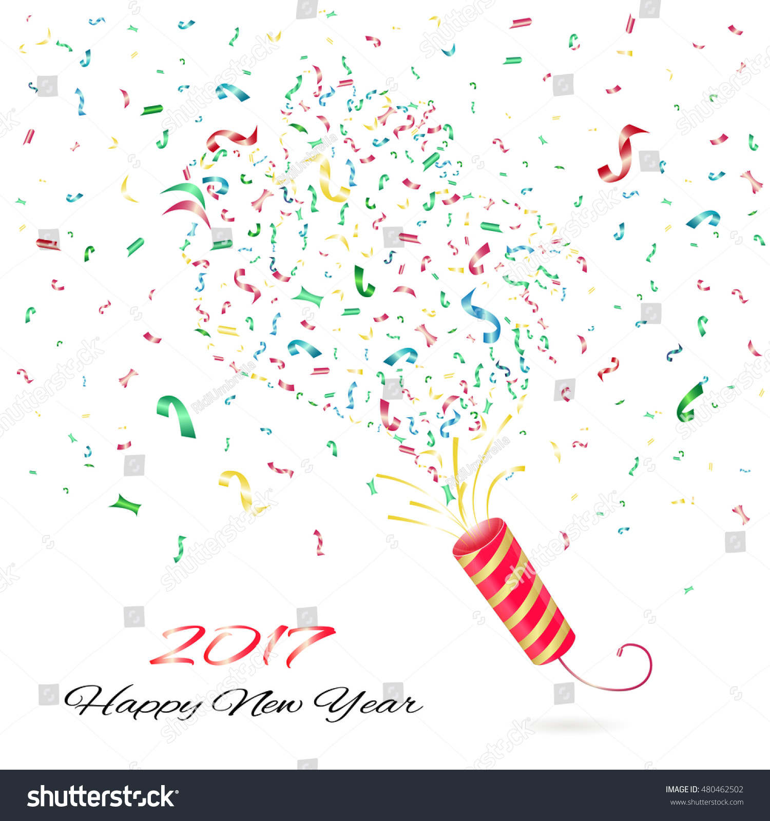confetti happy new year 2017 exploding party popper vector happy new year