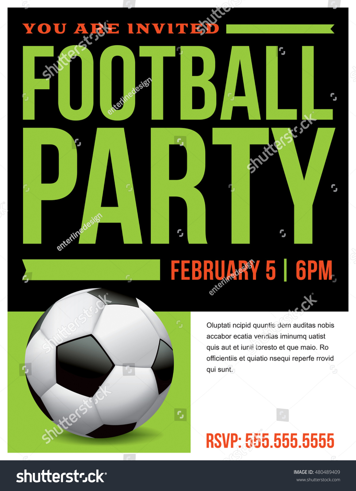 Flyer Soccer Football Party Invitation Template Illustration – Football Party Invites