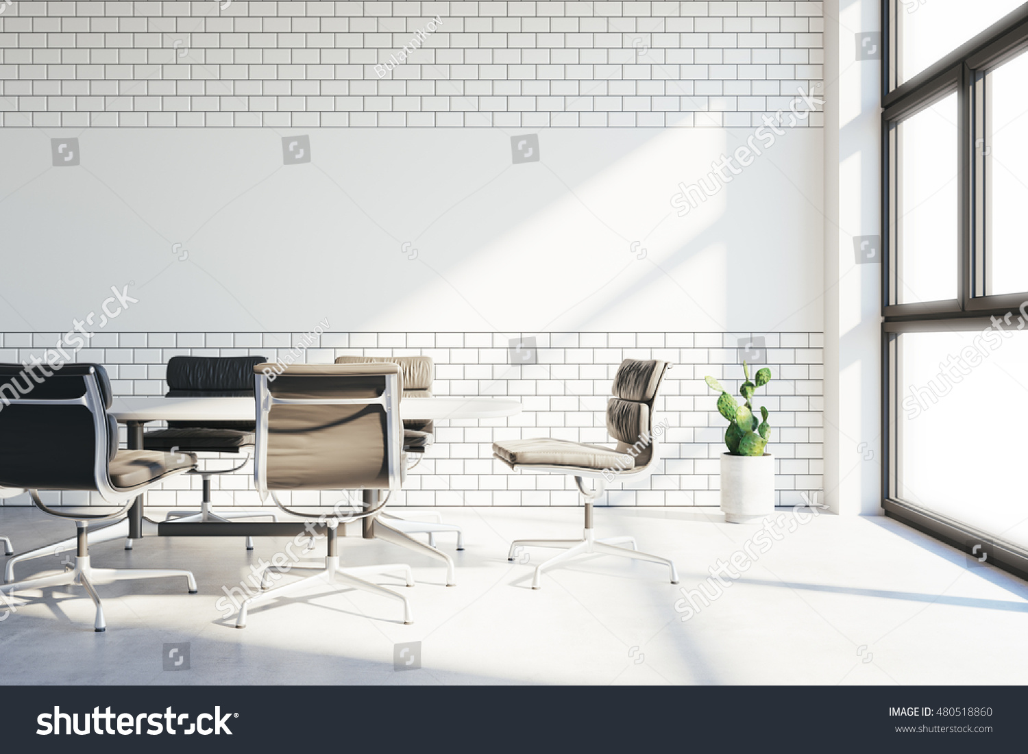 office tiles. Conference Room In Modern Office With White Tiles And Chalkboard For Drawings On Wall. Vintage