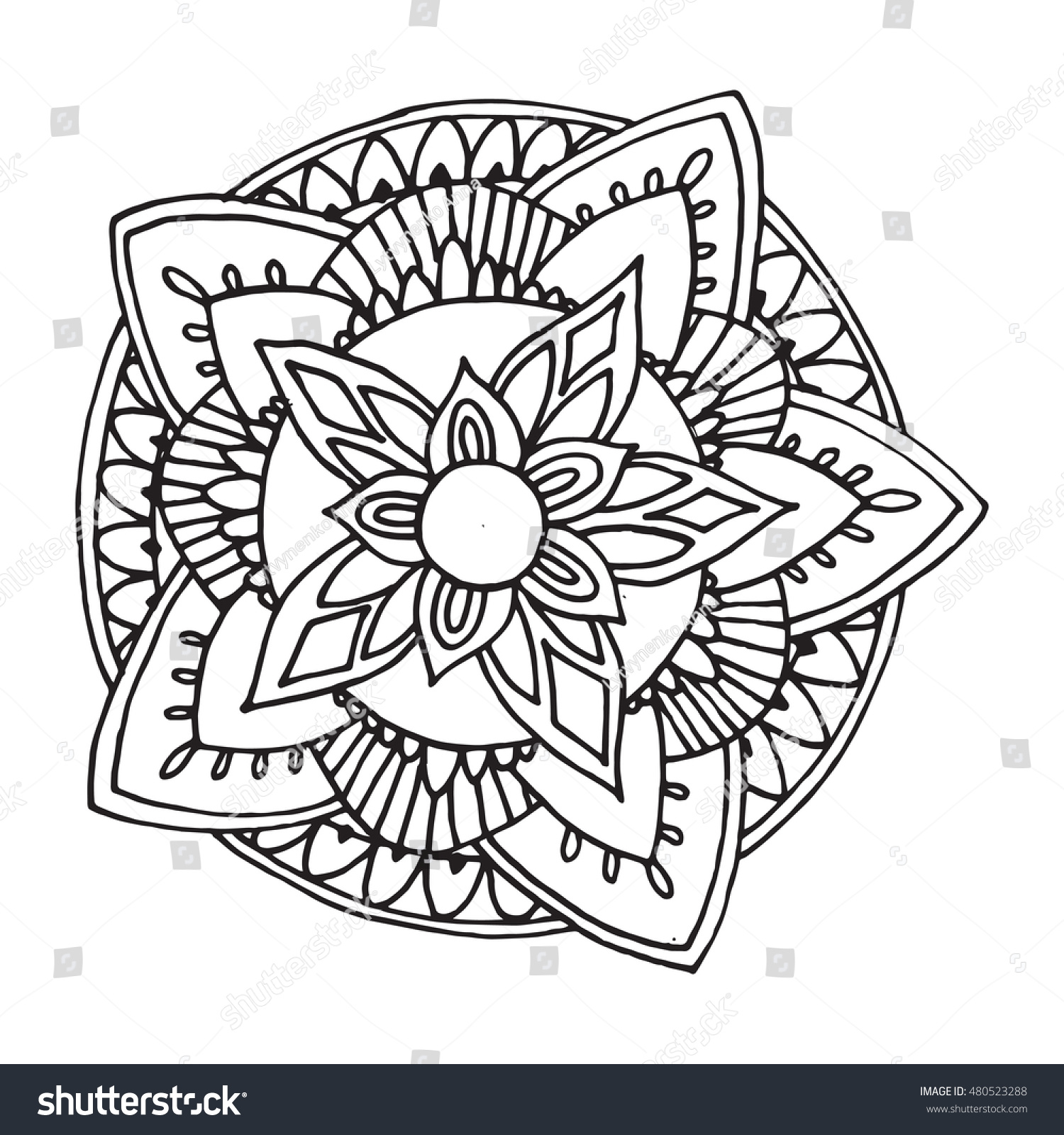 Zentangle Mandala Coloring Book Adults Made Stock Vector HD Royalty