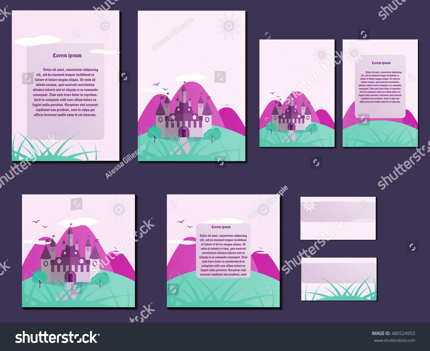 Green pink colorful brochures business cards stock vector 480524953 green and pink colorful brochures business cards with castle design nice and simple illustration colourmoves