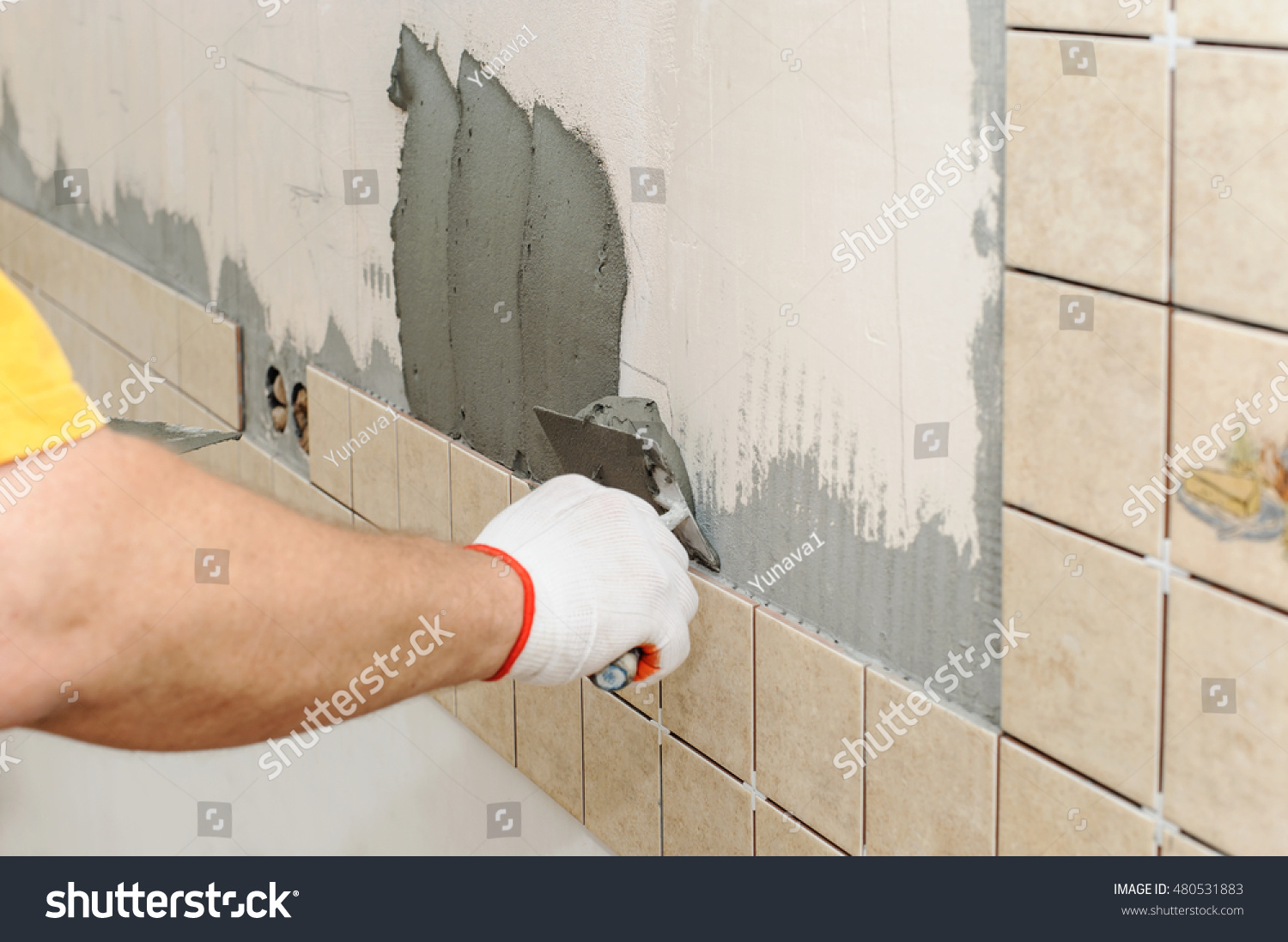 Worker Installing Tiles On Wall Kitchen Stock Photo 480531883 ...