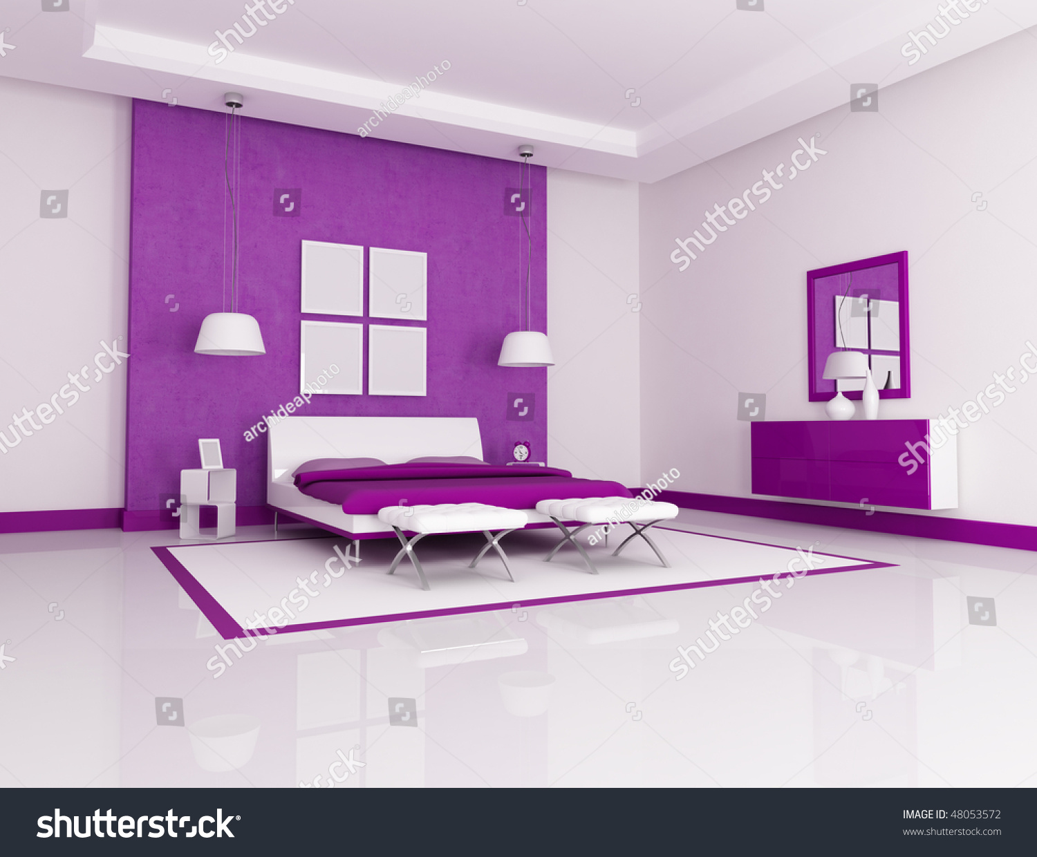Purple And White Bedroom Purple And White Minimalist Bedroom Rendering Stock Photo