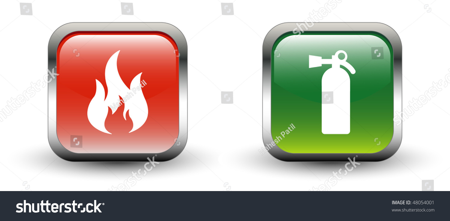 fire amp fire extinguisher sign icons stock vector
