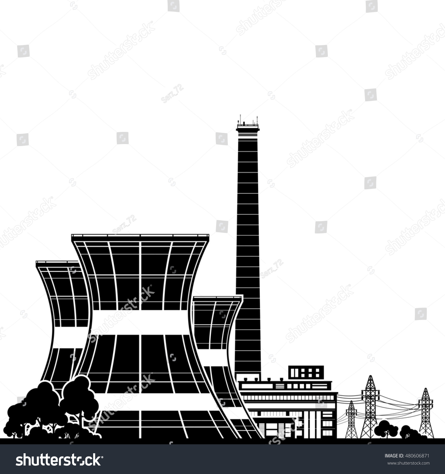 Silhouette Nuclear Power Plant Thermal Power Stock Illustration