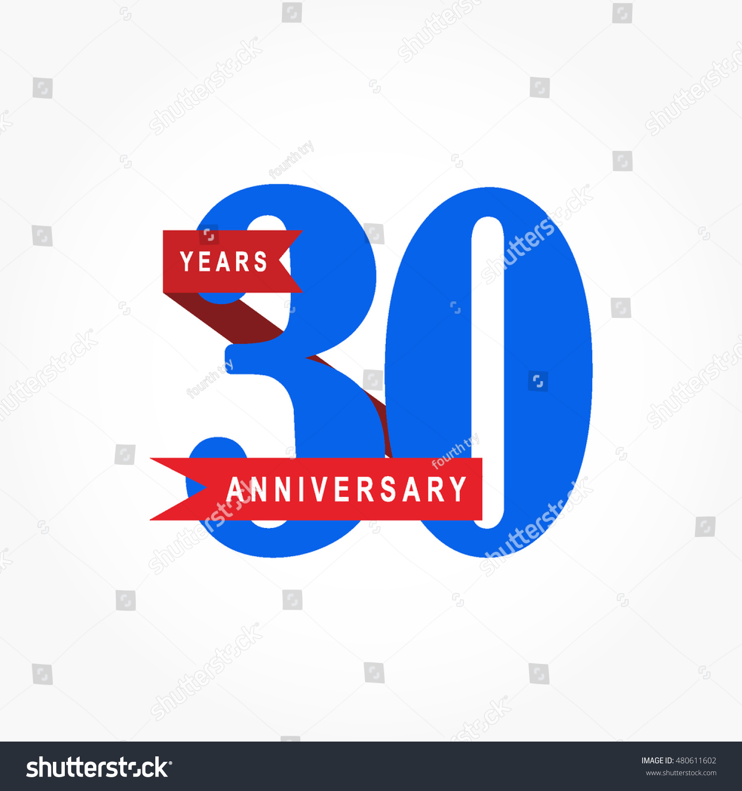 Blue Numbered Anniversary Logo Vector Red Stock Vector ...