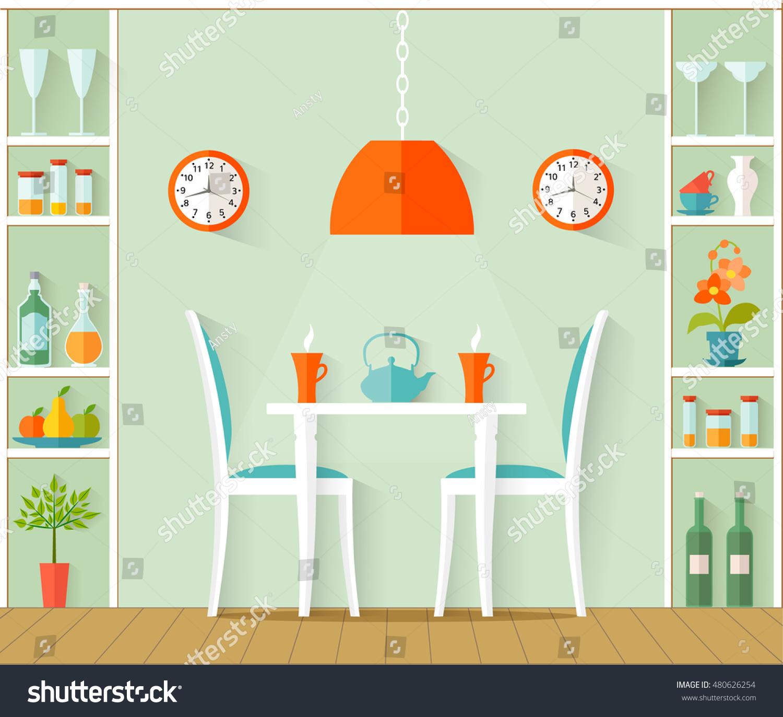 Vector interior dining room design cafe stock