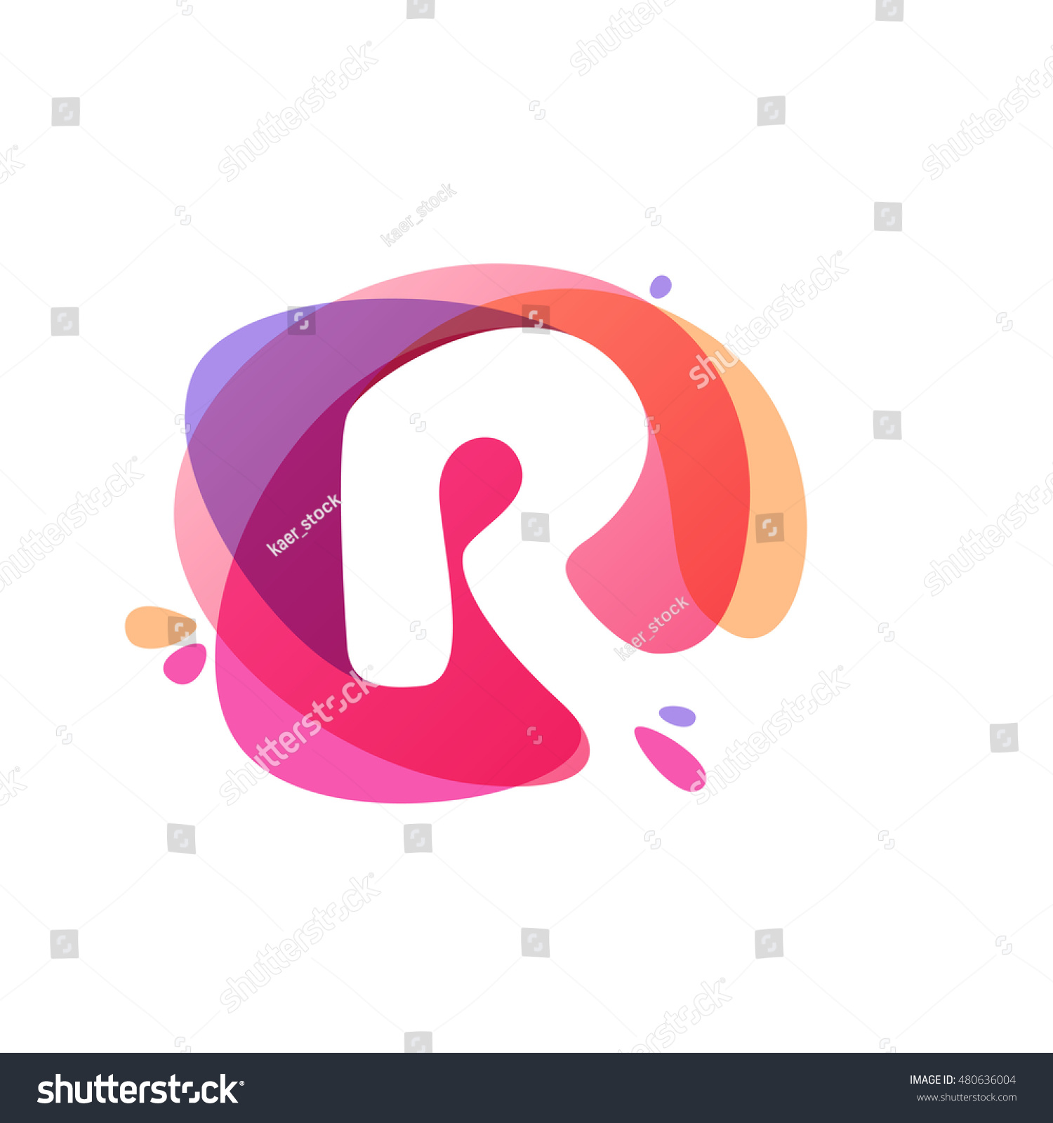 Letter R Logo Colorful Watercolor Splash Stock Vector (Royalty Free ...