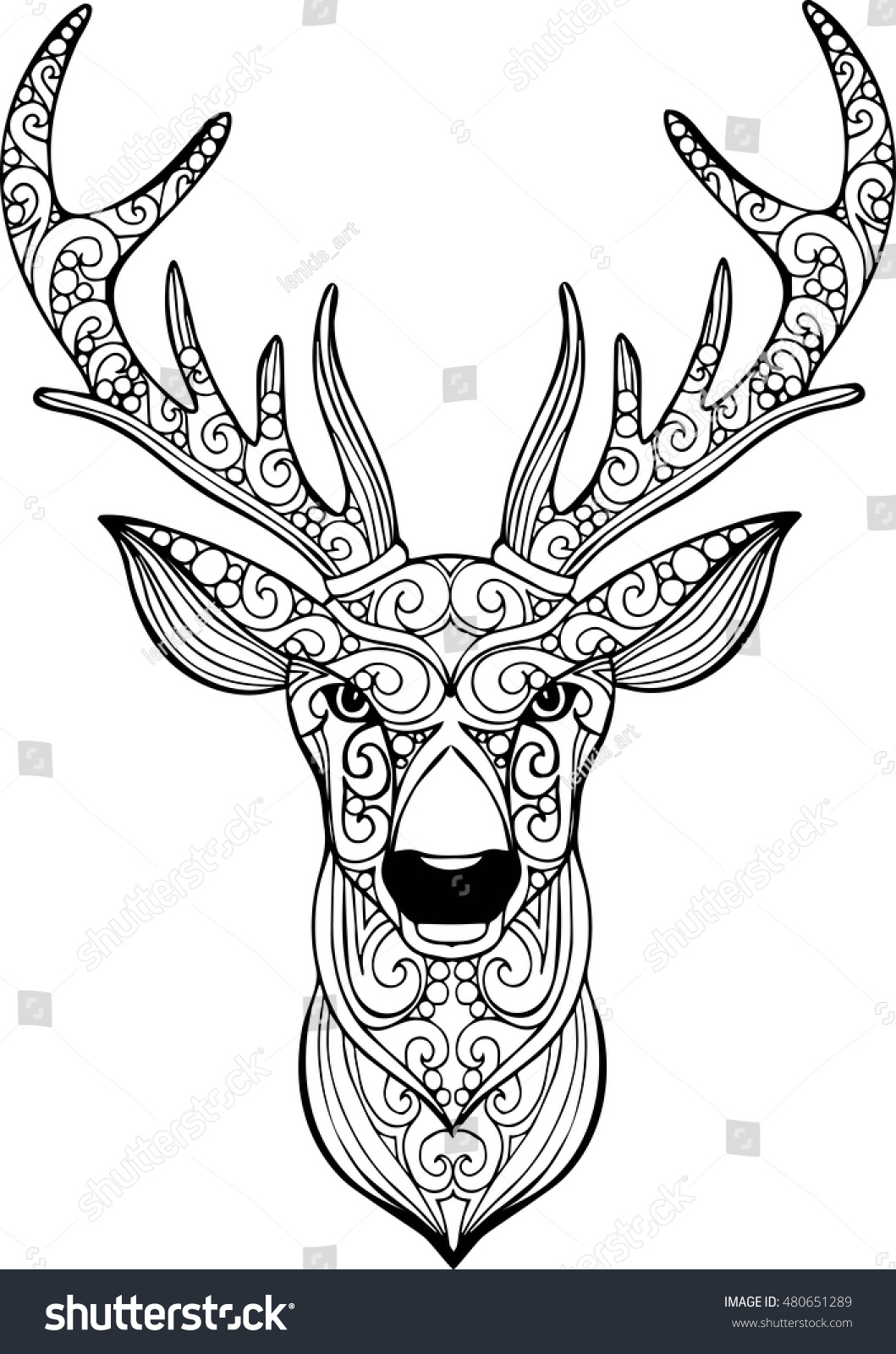 Hand Drawn Doodle Ornate Deer Illustration Stock Vector