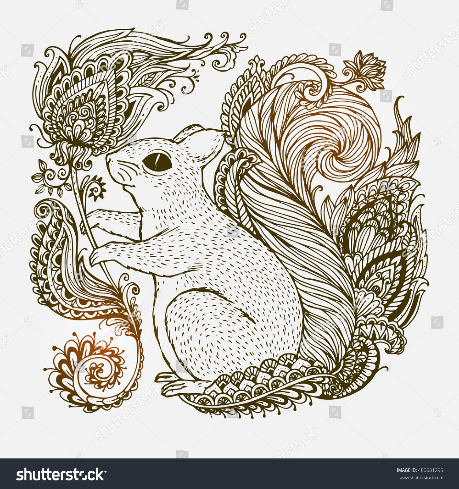 Hand-drawn Squirrel with ethnic ornaments floral doodle pattern Vector illustration Henna Mandala Zentangle stylized Design for spiritual relaxation for adults