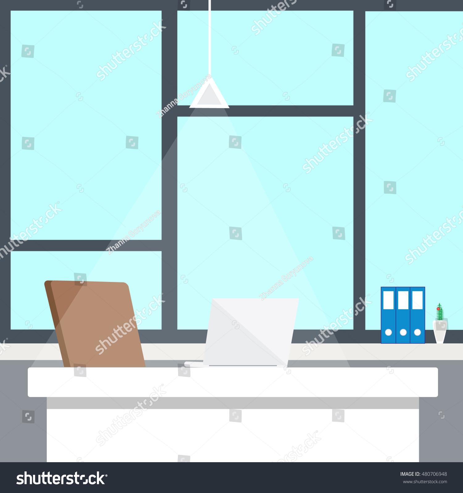 in flat design. Interior office room. Modern office room. Office