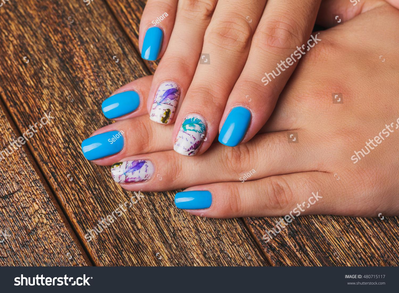 Light Blue Nail Art Feathers Print Stock Photo Edit Now 480715117