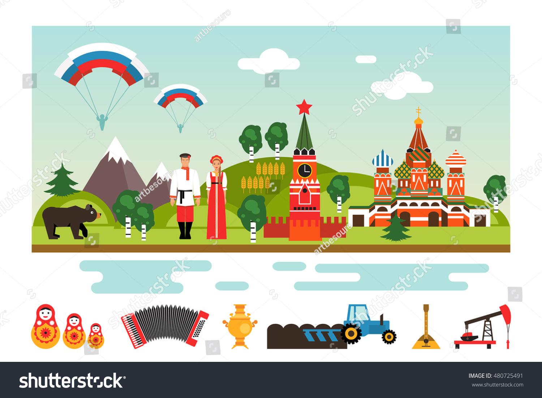 Famous landmarks national symbols russia welcome stock vector famous landmarks and national symbols of russia welcome to russia vector illustration biocorpaavc Gallery