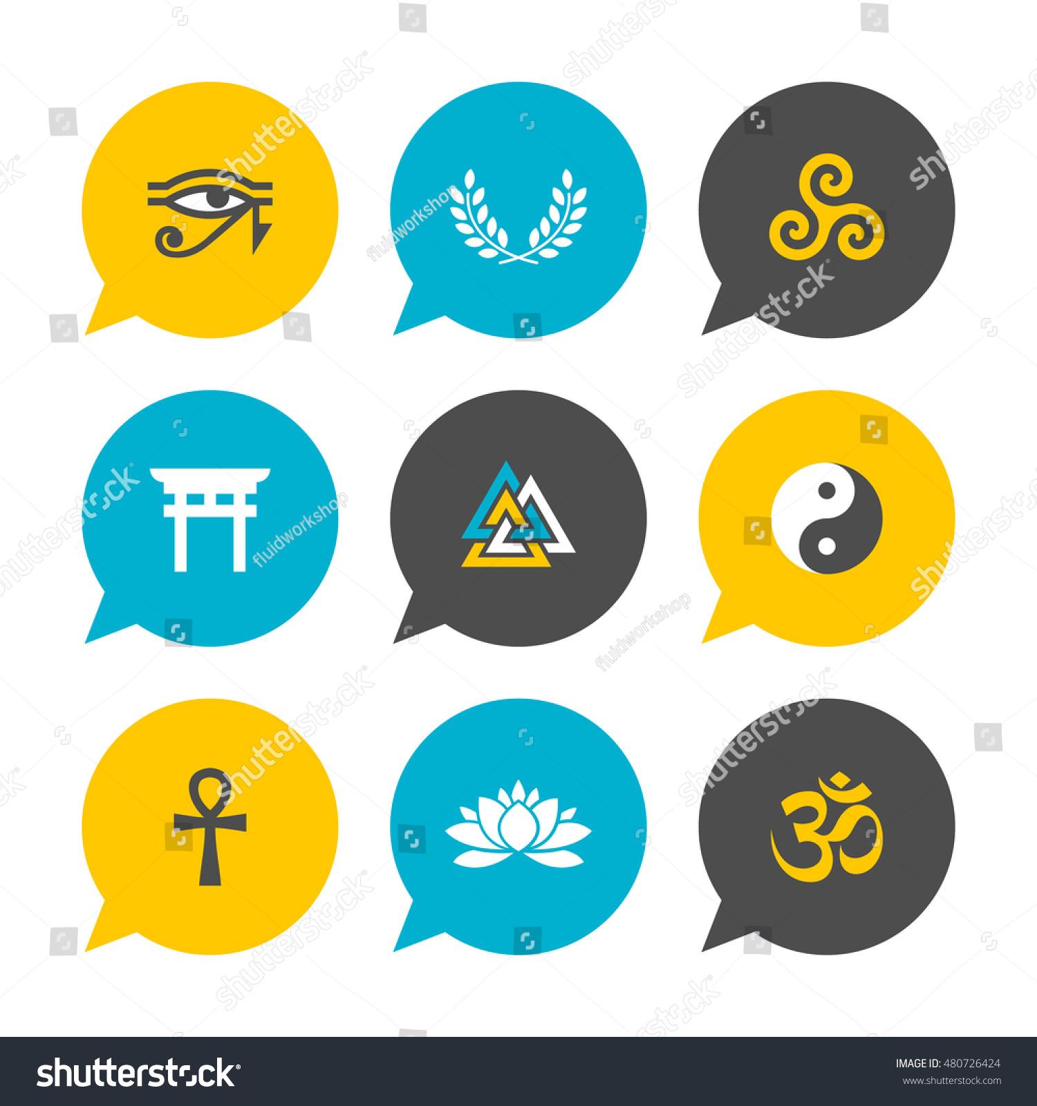 Vector Flat Icons Set Spiritual Symbols Stock Vector Royalty Free