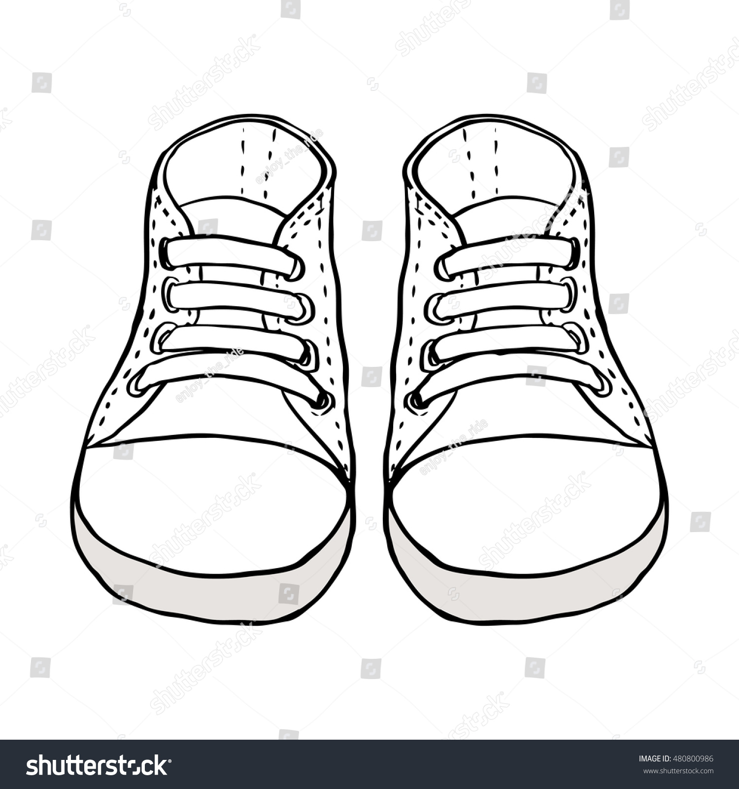 sketch illustration of kids shoes isolated on white - Sketch Images For Kids