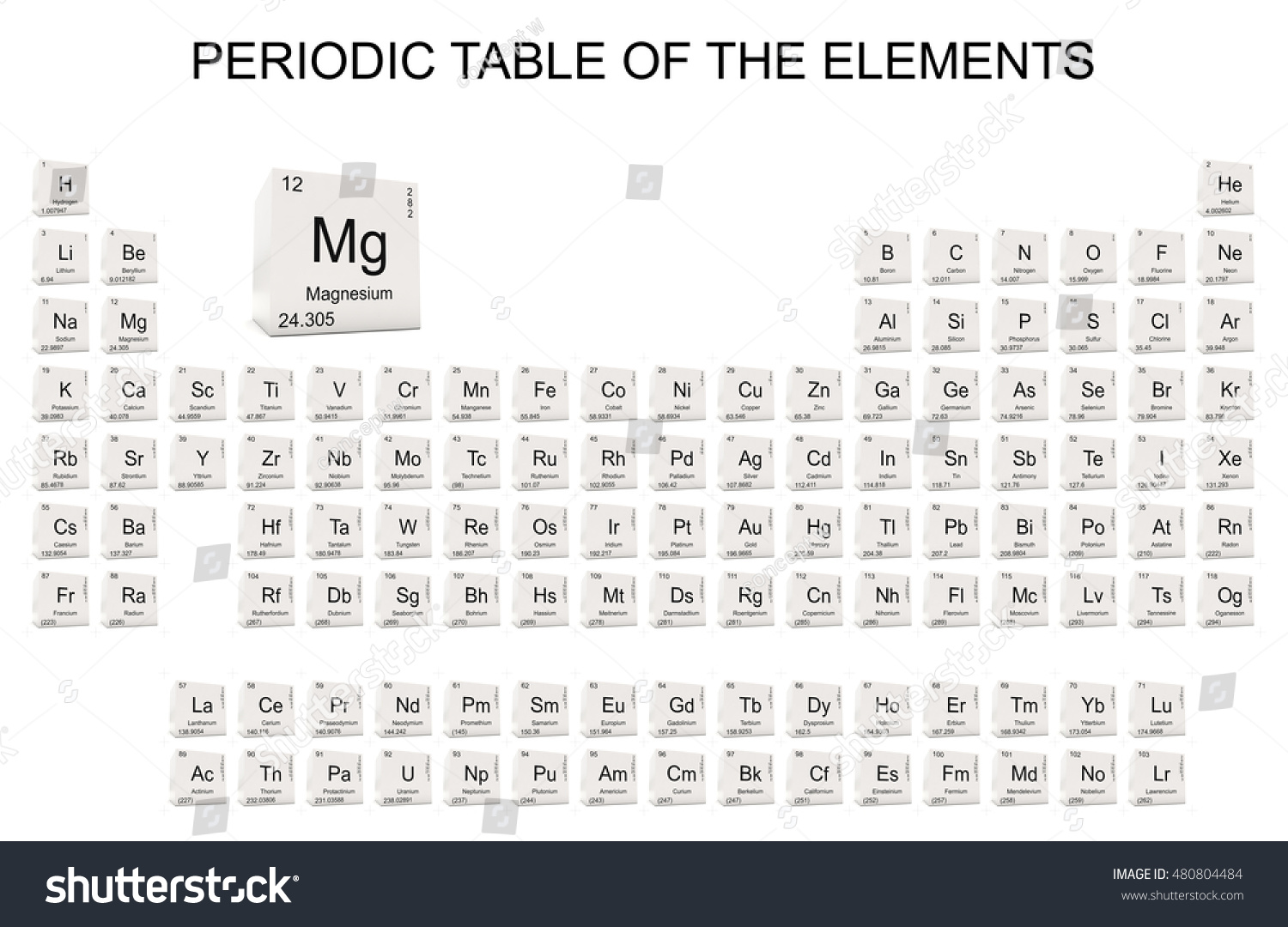 Periodic table elements icon set 3d stock illustration 480804484 periodic table of the elements icon set from 3d rendered white cubes isolated on white background gamestrikefo Images