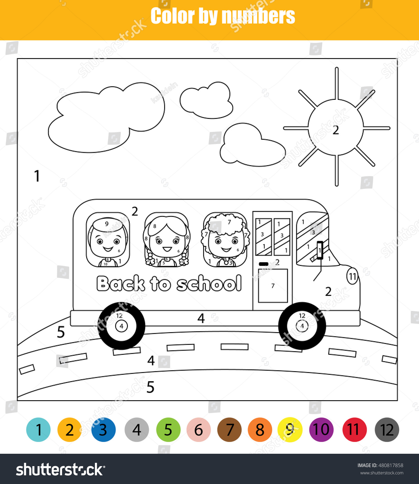 Coloring Page Kids Traveling School Bus Stock Illustration 480817858 ...