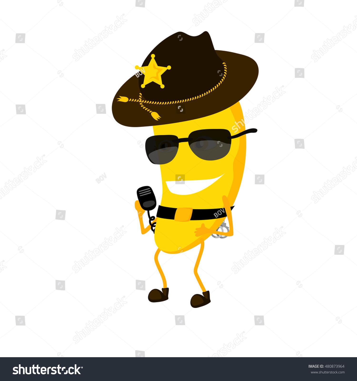 Banana Sheriff Cartoon Characters Hat Policeman Stock Vector