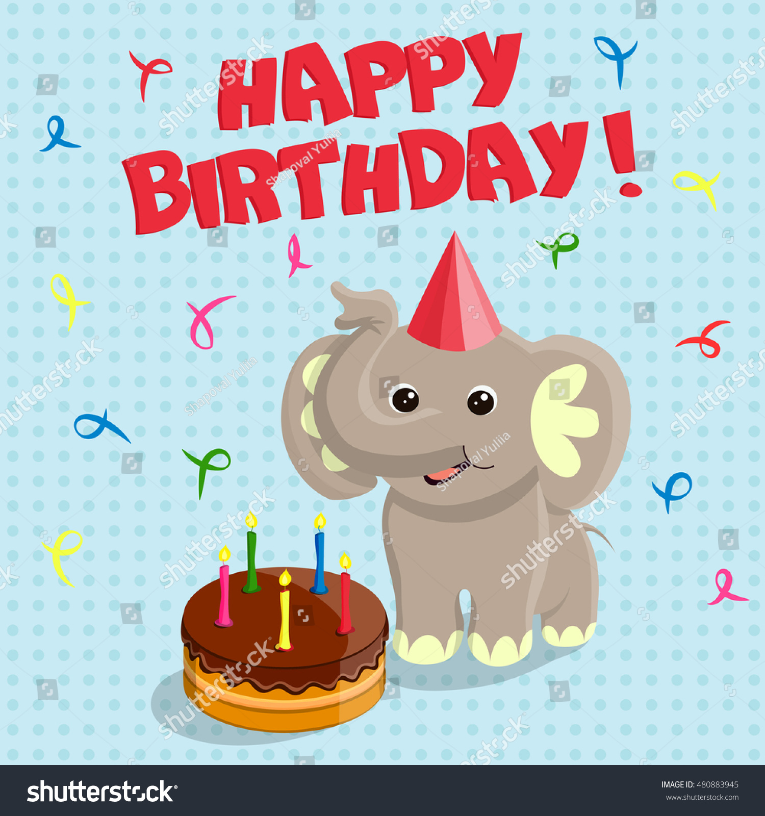 Happy birthday greeting card funny cute stock vector 480883945 happy birthday greeting card with the funny cute elephant and the chocolate cake vector illustration kristyandbryce Image collections
