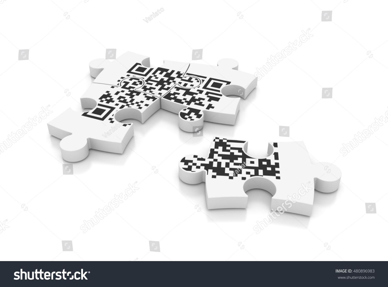 Qr Code Puzzle On White Background Stock Illustration 480896983