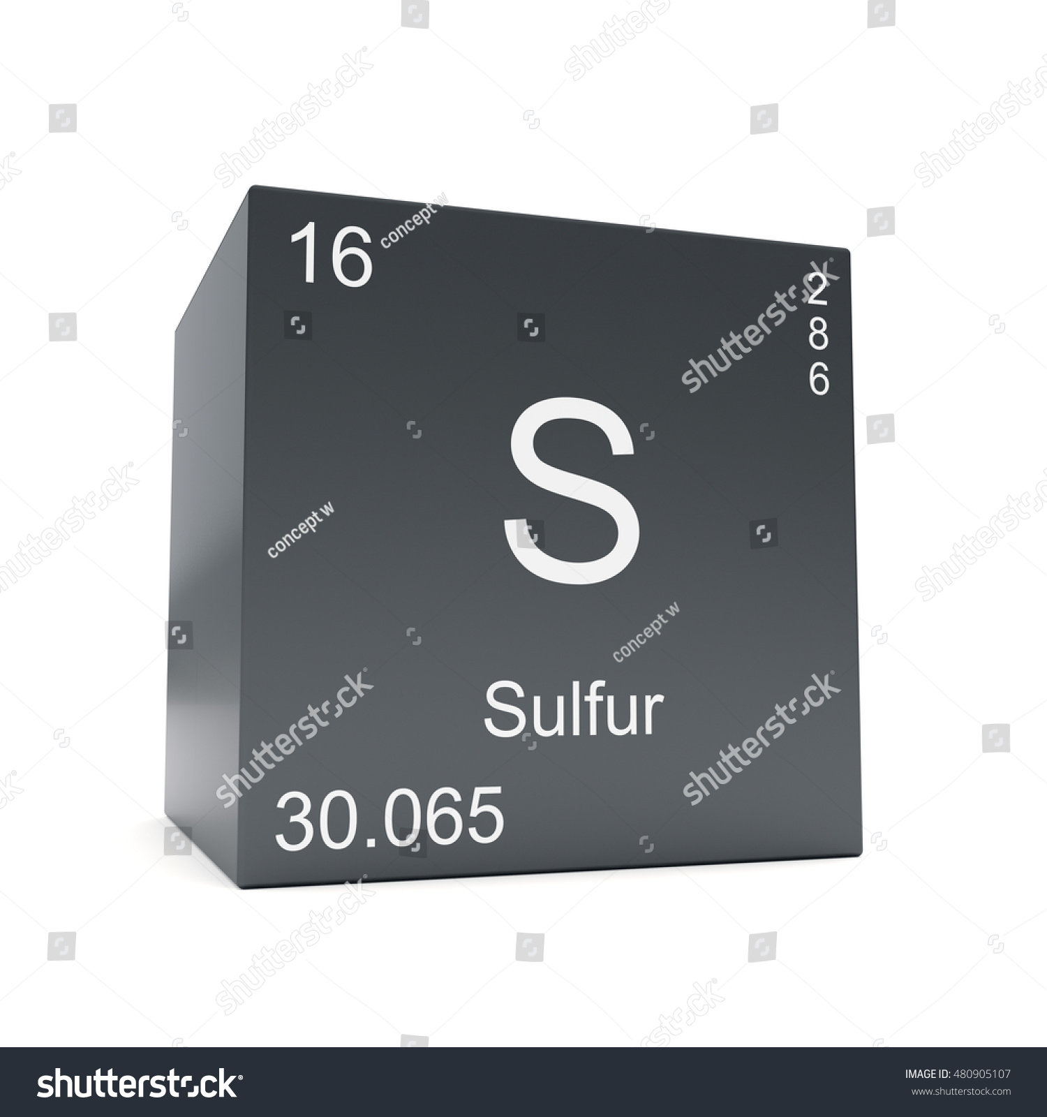 Sulfur Chemical Element Symbol Periodic Table Stock Illustration