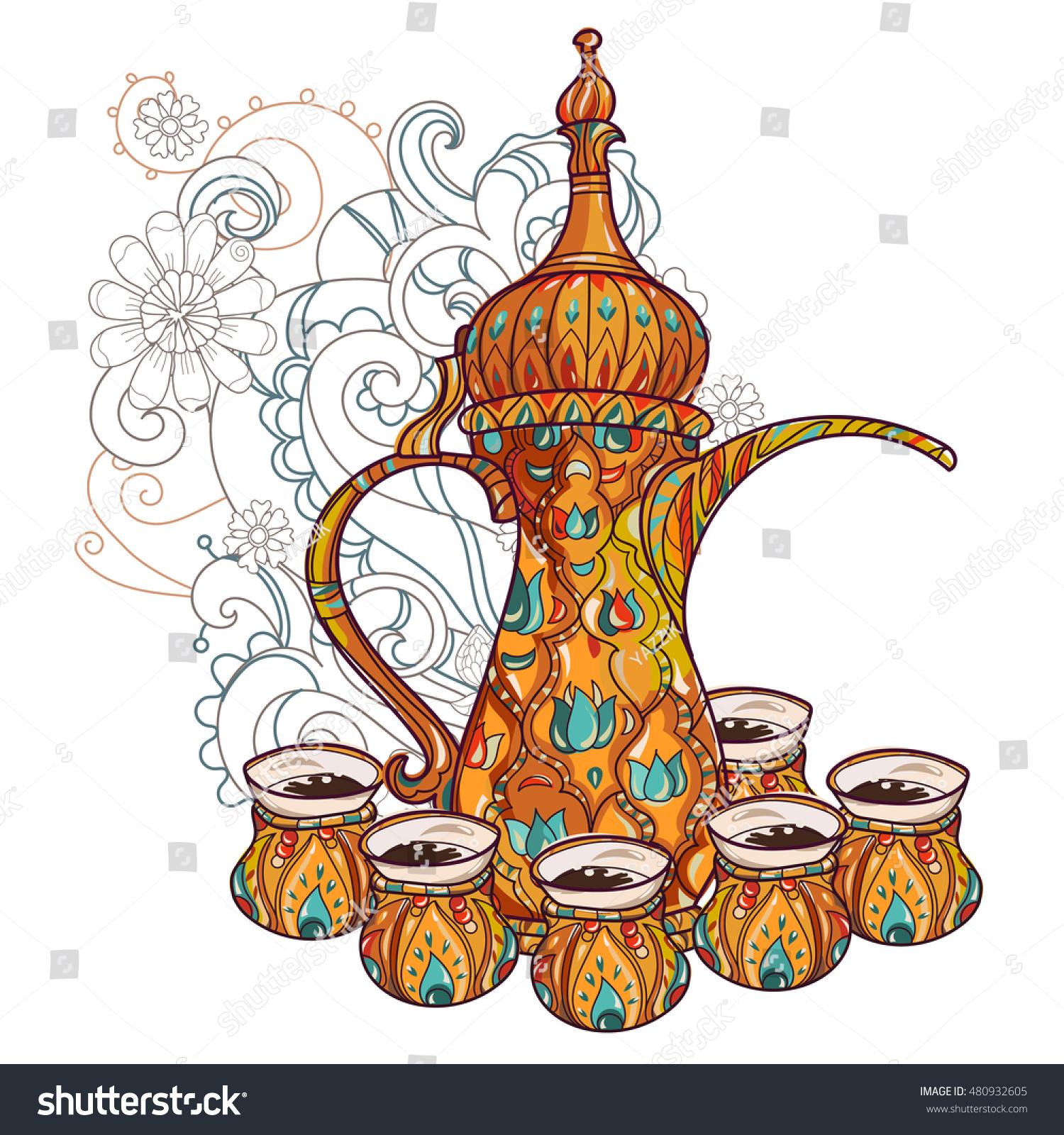 Arabic coffee maker dalla cups greeting stock vector 480932605 greeting card or invitation hand drawn sketch stopboris Gallery
