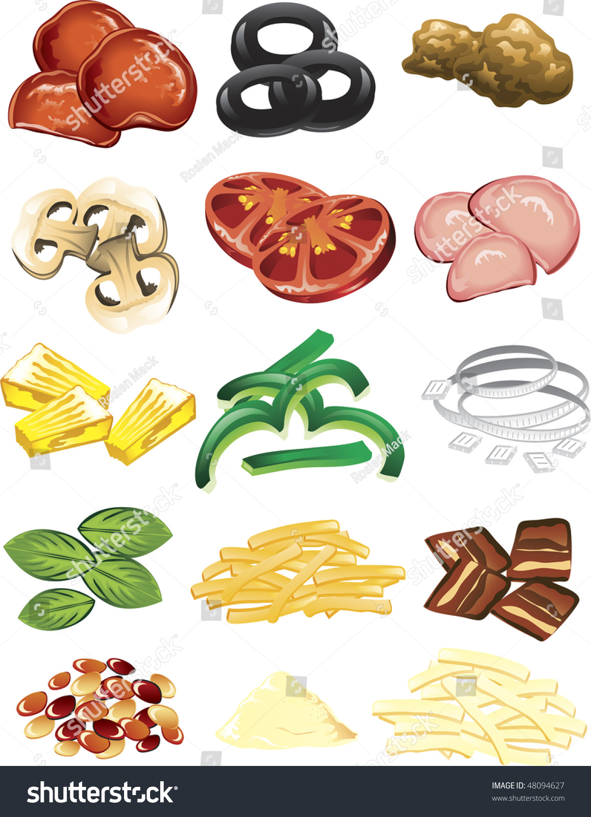 Illustration Of Different Pizza Toppings And Cheese ...